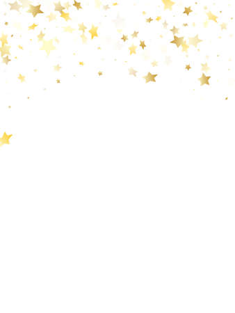 Flying gold star sparkle vector with white background. Fashionable gold gradient christmas sparkles glitter geometric star pattern. Christmas starburst lights card pattern.