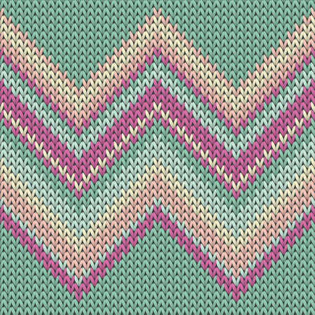 Woolen zig zal lines christmas knit geometric vector seamless. Blanket hosiery textile print. Norwegian style seamless knitted pattern. Handicraft backdrop. Иллюстрация