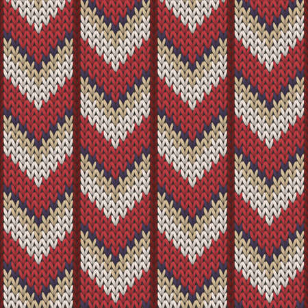 Fashionable downward arrow lines knitted texture geometric seamless pattern. Jacquard knitwear structure imitation. Traditional seamless knitted pattern. Winter holidays wallpaper.