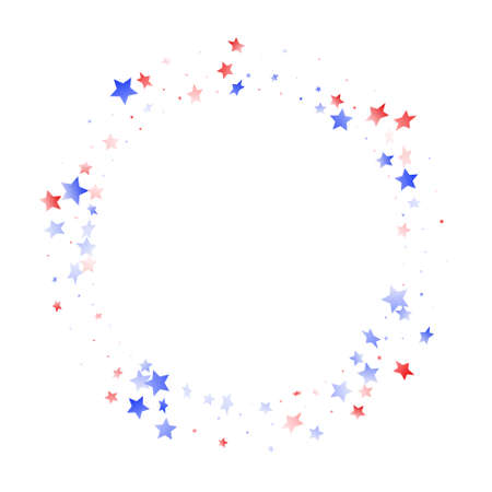 American Memorial Day stars background. Confetti in US flag colors for Independence Day. Festive red blue white stars on white American patriotic vector. 4th of July holiday stardust.