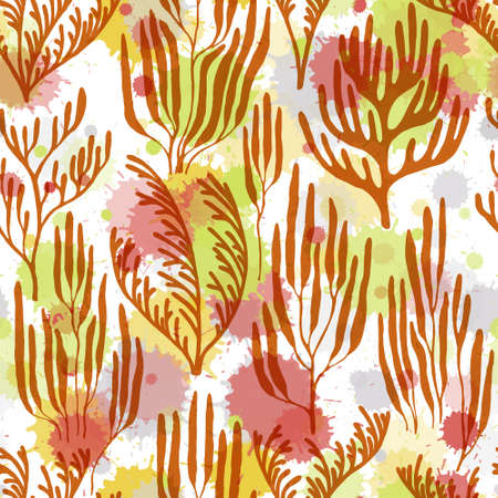 Coral polyps seamless pattern. Paint splashes drops watercolor background. Underwater plants textile print vector design. Exotic marine life pattern. Abstract Great Barrier Reef corals background. Ilustração