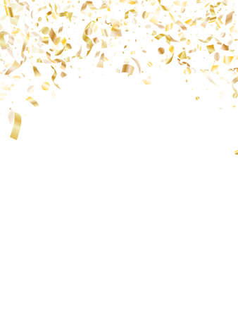 Gold shiny confetti flying on white holiday vector graphic design. Creative flying sparkle elements, gold foil texture serpentine streamers confetti falling christmas background.