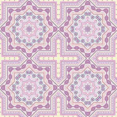 Luxury victorian majolica tile seamless rapport. Geometric texture vector elements. Rug print design. Classic spanish mayolica tilework repeating pattern. Line art graphic background.