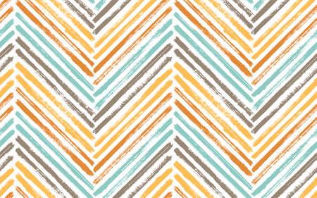 Simple zig zag fashion print vector seamless pattern. Ink brushstrokes geometric stripes. Hand drawn paint texture zig zag chevron backdrop. Watercolor fabric print seamless design.