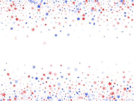 American Presidents Day stars background. Holiday confetti in USA flag colors for Patriot Day. Vivid red blue white stars on white American patriotic vector. Fourth of July stardust scatter.