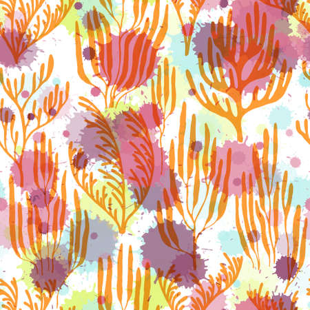 Coral reef seamless pattern. Paint splashes drops watercolor background. Underwater plants fabric vector illustration. Australian staghorn and pillar corals branches. Natural summer pattern. Ilustração