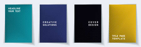 Cover page tech layout vector design set. Crossed lines texture background patterns. Brochure templates. Educational gradient covers graphic collectoin.  イラスト・ベクター素材