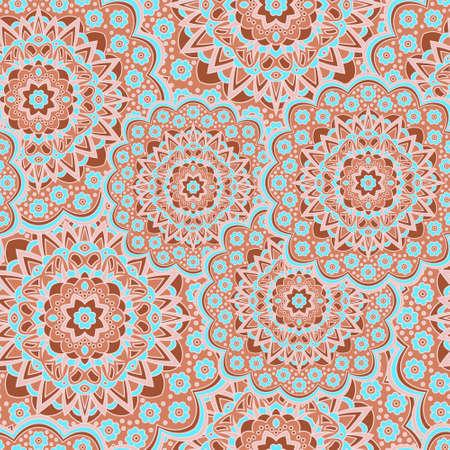 Persian medallion flower seamless ornament vector graphic design. Pattern template for shawl. Lovely mandalas persian medallion floral seamless rapport. Kaleidoscope elements. Asian motifs.