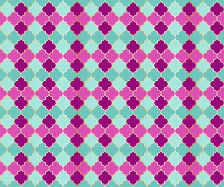 Persian Mosque Window Vector Seamless Pattern. Ramadan mubarak muslim background. Traditional ramadan mosque pattern in gold grid borders. Stylish islamic window grid design of lantern shape tiles. 向量圖像