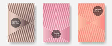 Brochure covers, posters, banners vector templates. 2d grid composition. Halftone lines annual report templates. Futuristic style. Geometric graphic design for booklet brochure covers.