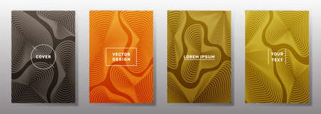 Minimalistic cover templates set. Fluid curve shapes geometric lines patterns. Halftone backgrounds for cataloges, corporate brochures. Line stripes graphics, title elements. Cover page layouts set. Vettoriali