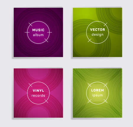 Abstract vinyl records music album covers set. Semicircle curve lines patterns. Futuristic creative vinyl music album covers, disc mockups. DJ records geometric layouts. Banners flyers cards set.