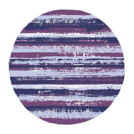 Ragged circle vector geometric shape with striped texture of ink horizontal lines. Disc banner with old paint texture. Vettoriali