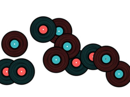 Vinyl records falling vector musical background. Cool music symbols, vintage style vinyl records vector illustration in black, pink and blue. Vettoriali