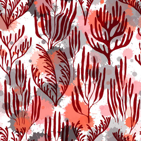 Ocean corals seamless pattern. Paint splashes drops watercolor background. Ocean bottom summer pattern. Aquatic plants repeating vector background. Tropical coral reef bush silhouette elements.