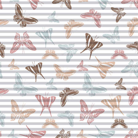 Flying romantic butterfly silhouettes over horizontal stripes vector seamless pattern. Girlish fashion textile print design. Stripes and butterfly winged insect silhouettes seamless wallpaper.