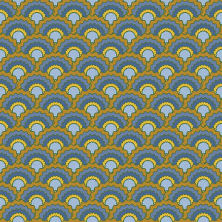 Decorative mermaid scales squama background, vector seamless fabric pattern, tiled textile print. Traditional chinese squama scales seamless arc tiles design. Fabric print pattern.