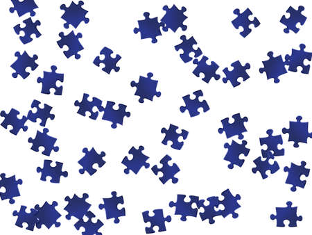 Abstract riddle jigsaw puzzle dark blue parts vector illustration. Scatter of puzzle pieces isolated on white. Strategy abstract concept. Jigsaw pieces clip art. Vettoriali