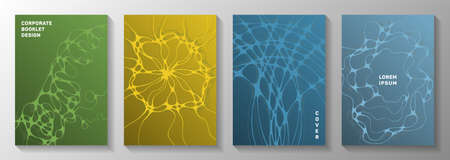 Biotechnology and neuroscience vector covers with neuron cells structure. flexible curve lines blockchain backgrounds. Futuristic notebook vector layouts. Pharmaceutical medical covers. Vettoriali