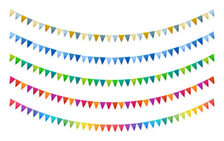 Bright paper bunting party flags set isolated on white background. Carnival garland with flags. Decorative colorful party pennants for birthday celebration, festival decor. Vivid bunting flags.