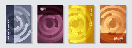 Editable publication title pages templates. Simple flyer gradient circles twist vector backdrops. Aim goal achievement circles concept. Futuristic magazine covers set.