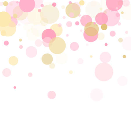 Rose gold confetti circle decoration for Christmas card background. Holiday vector illustration. Gold, pink and rose color round confetti dots, circles scatter on white. Elegant bokeh background.