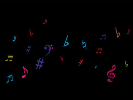 Color flying musical notes isolated on white background. Fresh musical notation symphony signs, notes for sound and tune music. Vector symbols for melody recording, prints and back layers. Vettoriali