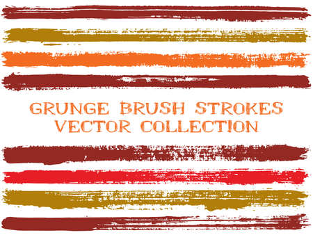 Long ink brush strokes isolated design elements. Set of paint lines. Creative stripes, textured paintbrush stroke shapes. Ink brush stripes isolated on white, vector wall paint samples set.