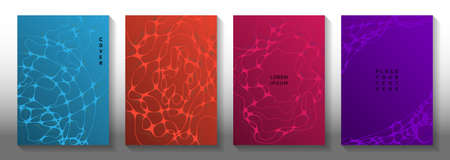 Global network idea abstract vector covers. Curly curve lines connection textures. Openwork notebook vector layouts. Science fiction cover pages graphic design set. Vettoriali