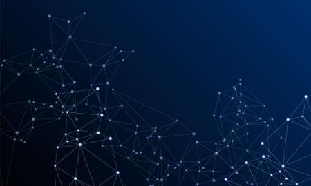 Block chain global network technology concept. Network nodes plexus dark blue background. Global data exchange blockchain vector. Interlinkes nodes cells random grid. Information analytics graphics. Vettoriali
