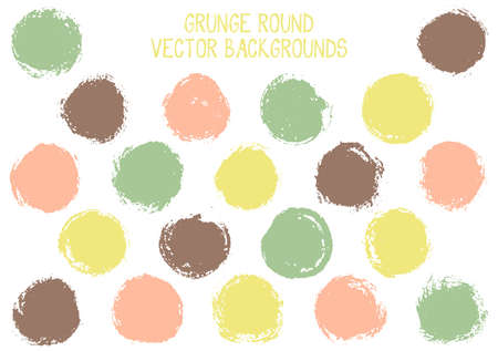 Vector grunge circles. Cool watercolor stamp texture circle scratched label backgrounds. Circular icon, chalk  shape, oval button elements. Grunge round shape banner backgrounds set.