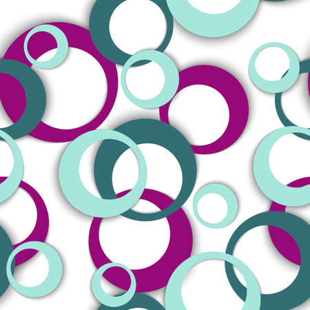 Circle rings simple geometric seamless pattern. Round shapes children fasion textile print. Random geometric circle rings urban background. Ball elements ornament. Wrapping design Vettoriali