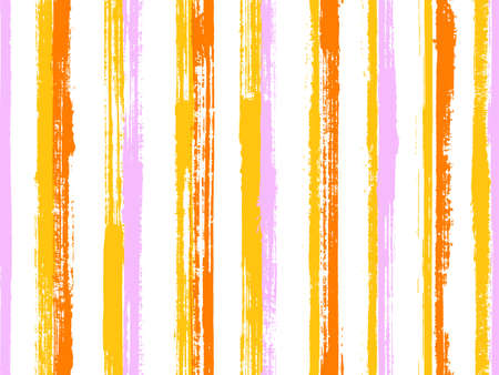Ink brush stroke straight lines vector seamless pattern. Trendy interior wall decor design. Retro geometric straight lines, stripes on white background. Repeatable backdrop.