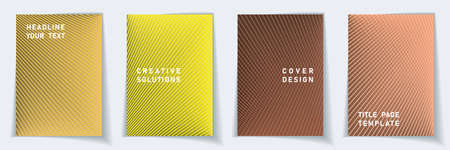 Cover page flat layout vector design set. Halftone lines grid background patterns. Folder templates. Educational gradient covers graphic collectoin. Vettoriali