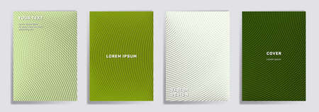 Semicircle lines halftone grid covers vector set. Creative brochure title page layouts. Notepad, magazine, business catalog covers with halftone gradient patterns. Overlaping semicircles prints.