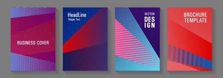 Brochure cover layouts vector geometrics. School notebook cover templates set. Corporate branding leaflets. Modern gradient folder mockups. Party invitation flyer cool backgrounds.