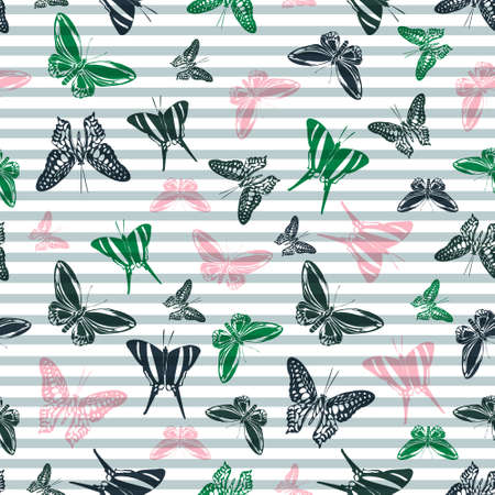 Flying exotic butterfly silhouettes over horizontal stripes vector seamless pattern. Baby clothing textile print design. Lines and butterfly winged insect silhouettes seamless pattern.