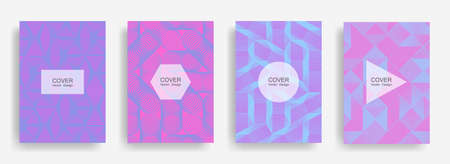 Halftone shapes business brochure covers vector design. Background patterns with halftone triangle, circle, polygon geometric shapes texture. Digital banners set. Linear geometry covers design. Vettoriali