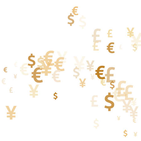 Euro dollar pound yen gold signs flying money vector design. Finance backdrop. Currency pictograms british, japanese, european, american money exchange signs wallpaper.