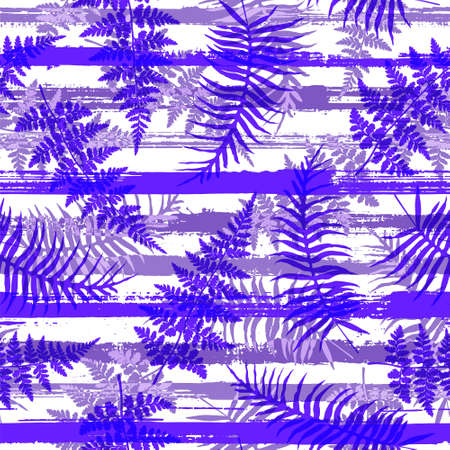 Stylish new zealand fern frond and bracken grass overlapping stripes vector seamless pattern. Bali exotic foliage clothing fabric print. Tropical leaves silhouettes wallpaper. Vettoriali