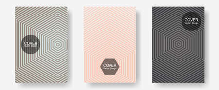 Banner graphics cool vector templates set. Simple book covers. Halftone lines annual report templates. Music album adverts. Abstract banners graphic design with lined shapes. Vettoriali