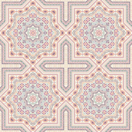 Creative victorian majolica tile seamless ornament. Ethnic structure vector swatch. Linens print design. Stylish spanish mayolica tilework seamless pattern. Wall decoration template.