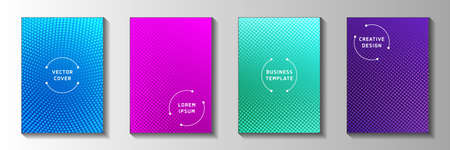 Futuristic dot faded screen tone front page templates vector batch. Geometric journal perforated screen tone patterns. Vintage comics style title page layouts. Rectangle folders. Vettoriali