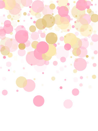 Rose gold confetti circle decoration for Valentine card background. Birthday vector illustration. Gold, pink and rose color round confetti dots, circles chaotic scatter. Creative bokeh background. Vettoriali