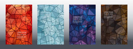 Triangles mosaic geometric cover page mockups vector batch. Financial brochure front pages. Triangles mosaic business banners graphic design. Industrial urban backgrounds. Polygonal covers.
