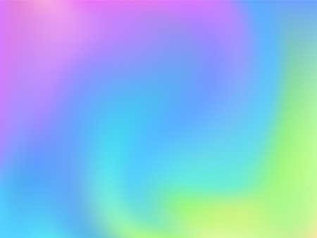 Hologram effect glitch gradient vector design. Futuristic pastel rainbow unicorn background. Hologram colors liquid background. Lucid neon glitch effect hologram gradient wallpaper. Vettoriali