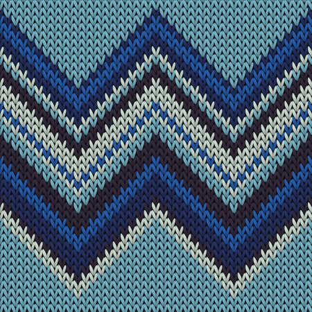 Modern zig zal lines knitted texture geometric seamless pattern. Jumper stockinet ornament. Norwegian style seamless knitted pattern. Cozy textile print design. Vettoriali