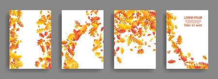Autumn leaves falling card backgrounds or covers vector set. Yellow orange red dry autumn leaves organic backdrops. Falling dry foliage brochure covers, card backgrounds graphic design.