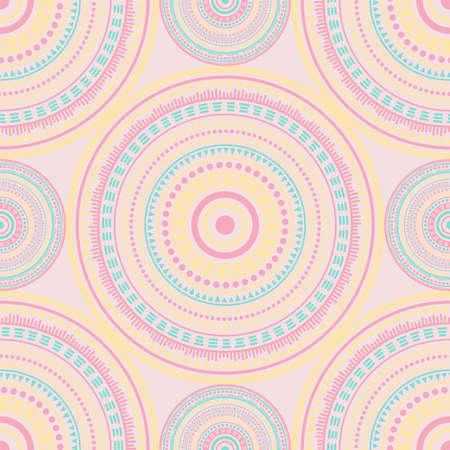 Damask folk motifs seamless pattern. Circle medallion mandala geometric tiles. Textile print template. Clothes, carper or tile pattern. Trendy circular seamless ornament. Henna mandala design. Vettoriali