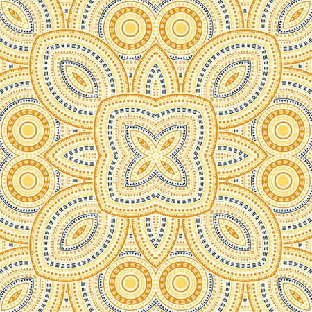 Flat victorian majolica tile seamless ornament. Ethnic structure vector motif. Tapis print design. Classic spanish mayolica tilework infinite pattern. Geometric shapes wallpaper.